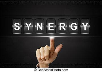 empresa / negocio, mano, hacer clic, sinergia, en,...