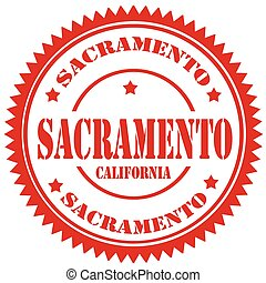 Sacramento - Red rubber stamp with text...