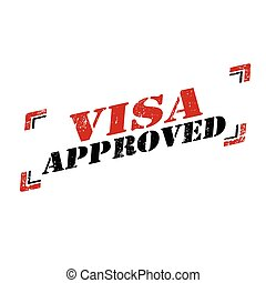 Visa Approved - Grunge rubber stamp with text Visa...