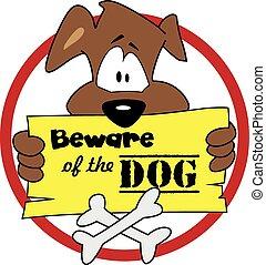 Beware of the dog %u2013 illustration ve - Warning sign for...