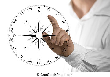 Professional Orientation - Finger about to touch a compass...