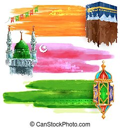 Eid Mubarak sale and promotion offer banner - illustration...
