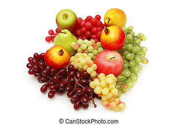 Selection of fruits isolated on the white