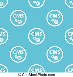 CMS settings sign blue pattern - Text CMS and two gears in...