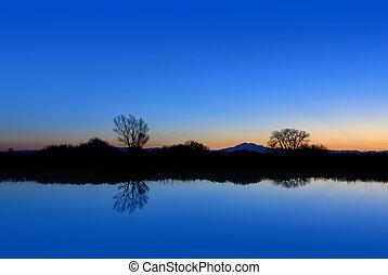 Riparian, azul, tarde, reflexión