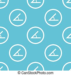 Angle sign blue pattern - Image of angle in circle, repeated...