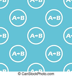 A to B sign pattern - Letters A, B and arrow in circle,...