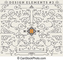 Vintage Ornaments Decorations Design Elements 2. Vector...