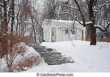 Lazienki Park in winter. Poland, Warsaw.