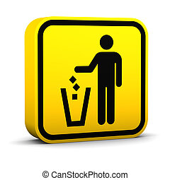 Litter Disposal Sign - Litter disposal up sign on a white...