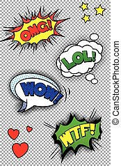 Popart speech bubbles with LOL, OMG, WOW and WTF. EPS10...