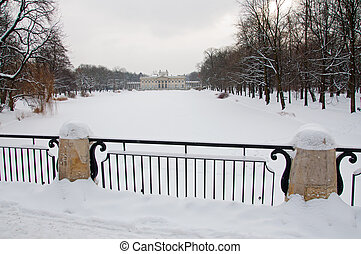 Lazienki Park in winter. Poland, Warsaw.