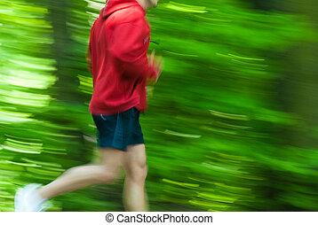 Cross country runnerq - Runner in a fresh green prk wearing...