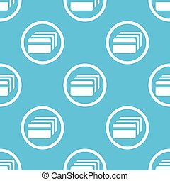 Credit card sign blue pattern - Image of credit card in...