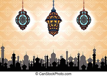 Glowing lamp on Eid ul Adha background - vector illustration...