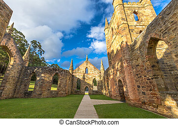 Convict Port Arthur - Ruins of the Church Convict, ancient...