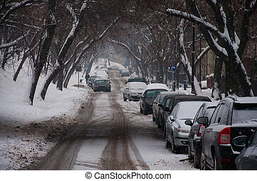 snow covered road in Warsaw