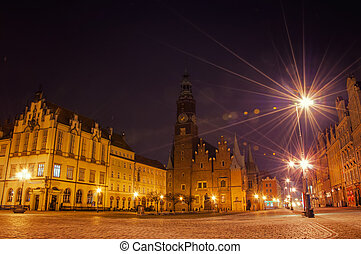 Wroclaw - Old Town at night, Wroclaw, Poland.