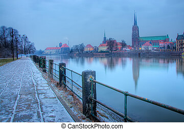 Wroclaw - Old Town in the morning on the river Odra Wroclaw...