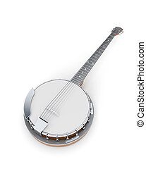 Banjo on a white 3d illustration Music instruments series