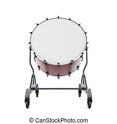Drum bass close-up isolated on white background. 3d...