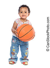 Baby whit basketball - Adorable baby whit basketball a over...