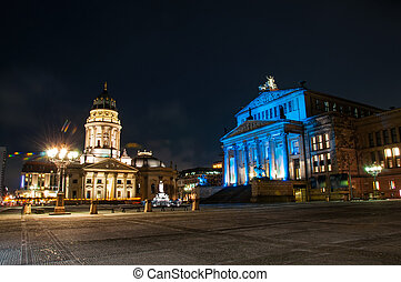 gendarmenmarkt square at night in Berlin