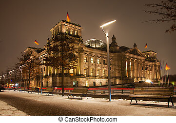 Reichstag in Berlin at night