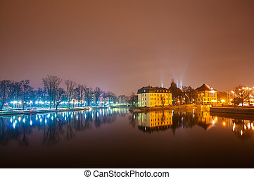 Wroclaw - view of the old city of Wroclaw on the River Odra...
