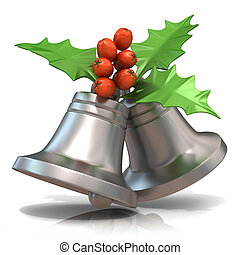 Christmas bells with holly berries - Silver Christmas bells...