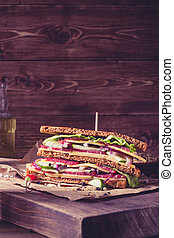 One sandwich on old papper - One piece of sandwich on old...