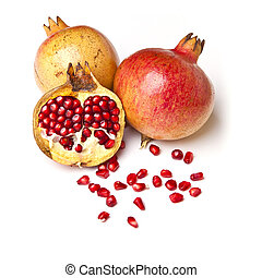Group of Pomegranate with seeds - Group of pomegranate with...