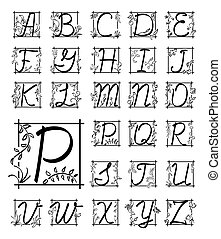 vector english floral alphabet - black letters in frame