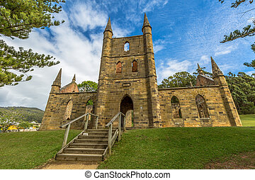 Convict Church Tasmania - Ruins of the Church Convict,...