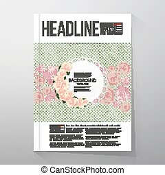 Floral background with place for text and pink flowers over green dotted background. Brochure or flyer vector template
