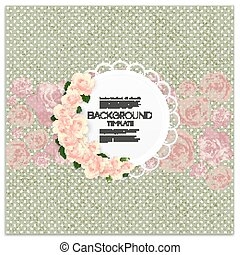 Invitation card with place for text and pink flowers over green dotted background, canvas texture. Vector illustration