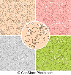 floral seamless patterns - colored