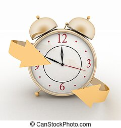 Alarm-clock with arrows 3d isolated icon on white