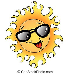 Happy Sun With Sunglasses - An image of a happy sun wearing...