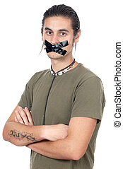 Sealed with adhesive tape - Teenager with his mouth sealed...