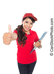 Happy Female delivery service with clipboard showing thumb...
