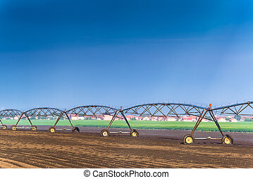 Automated Farming Irrigation Sprinklers System in Operation...