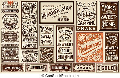 mega pack old advertisement designs and labels - Vintage...