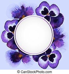 watercolor pansies - Vintage frame with watercolor pansies...