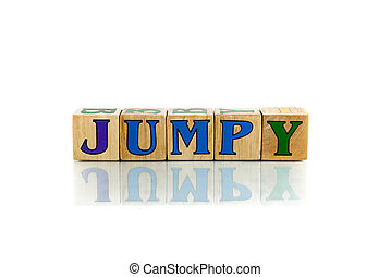 jumpy  colorful wooden word block on the white background