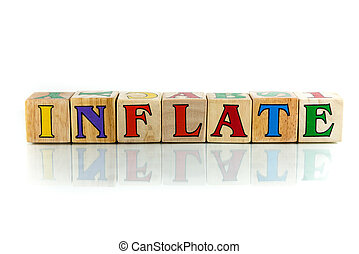 inflate colorful wooden word block on the white background