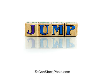 jump colorful wooden word block on the white background