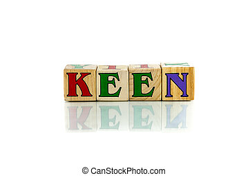 keen - keen colorful wooden word block on the white...