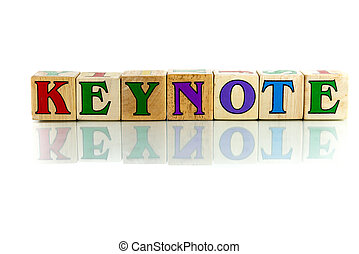 keynote colorful wooden word block on the white background