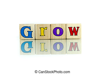 grow colorful wooden word block on the white background